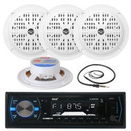 "4"" White Pyle 100W Marine Speakers, PLMRB29B Marine USB AM FM AUX Radio, Antenna (MPPK16083)"