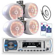 "2 6.5"" White Tower LED Speaker Sets, Bluetooth USB AM FM Pyle AUX Radio, Antenna (MPPK16161)"