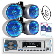 "Silver 8"" 600W Wake Board Tower Speaker Sets, USB Bluetooth Radio, Antenna  (MPPK16165)"
