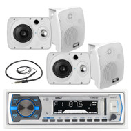 "4 Marine 6.5"" Box 800W Speakers, Pyle Bluetooth USB AM FM Radio, Marine Antenna (MPPK16171)"