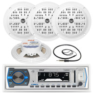 "4 Pyle Black 5.25""Marine Speakers,Pyle White  USB AM FM AUX Marine Radio,Antenna (MPPK16222)"