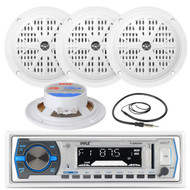"Black 4"" Marine 100W Speakers, Antenna, Pyle White AM FM AUX USB Marine Radio (MPPK16225)"