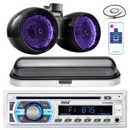 "8"" LED Marine 600W Wake Board Speakers, Antenna, Bluetooth Pyle Radio and Cover (MPPK16435)"