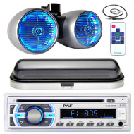 "Pyle USB Bluetooth AUX Radio, Marine LED 600W 8"" Wake Board Set, Antenna, Cover (MPPK16436)"