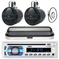 "Marine 8"" Wake Board 1200W Speakers, Pyle Bluetooth USB Radio, Cover, Antenna  (MPPK16455)"