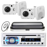 "4 Marine 6.5"" 800W Box Speakers, Pyle USB AUX Bluetooth Radio, Cover, Antenna (MPPK16457)"