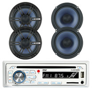 "4 Marine 6.5"" 400W Speakers, Pyle USB SD Bluetooth AM FM Radio, Cover, Antenna (MPPK16506)"