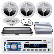 "Marine 5.25"" Speakers, 400W Amplifier,Cover, Antenna,Pyle USB SD Bluetooth Radio (MPPK16525)"