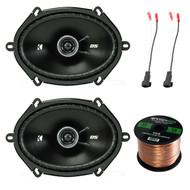"""2x Kicker 6x8"""" 200 Watt Speakers, 2X Enrock Speaker Harness Adapters, 50Ft Wire (R-44DSC6804-1)"""