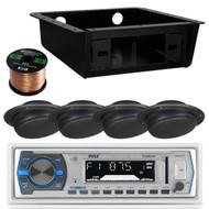 "Enrock Bluetooth USB Radio,2.5"" Black 40W Wall Speakers,Underdash Radio Housing  (RVAS102)"