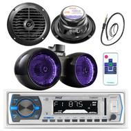 """Pyle Bluetooth USB Marine Radio, Antenna, 6.5"""" Tower LED Speakers, 6.5"""" Speakers (MPPK16174)"""