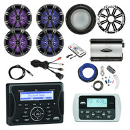 """Jensen Marine Bluetooth USB Receiver, Wired Remote, 4x 8"""" Marine LED Coaxial Speakers w/ Charcoal & White Grilles, Kicker 10"""" Marine 4-Ohm Subwoofer, Chrome Sub LED Grille, 760-Watt 4-Channel Amplifier, Amp Install Kit, Antenna, LED Remote, USB Mount"""