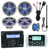 "Jensen Marine Audio Bluetooth AUX USB SiriusXM-Ready Receiver, Wired Remote, 4x Enrock Marine 2-Way 180-Watts High-Performance 6.5"" Water-Resistant Loudspeaker (Charcoal), AM/FM Antenna, 50 Ft 16-G Tinned Speaker Wire, USB Mount"