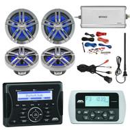 "Jensen Marine Audio Bluetooth AUX USB Receiver, Wired Remote, 4x Enrock Marine 2-Way 180-Watts 6.5"" Water-Resistant Speakers (Charcoal), Enrock Marine 4-Channel Marine/Powersports Amplifier, PYLE 8 Gauge Amp Install Kit, AM/FM Antenna, USB Mount"