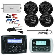 """Jensen Marine Audio Bluetooth AUX USB Receiver, Wired Remote, 4x Kenwood 6.5"""" 2 Way 150-Watt Black Marine Speakers, Enrock Marine 4-Channel Marine/Powersports Amplifier, PYLE PLMRAKT8 8 Gauge Amplifier Installation Kit, AM/FM Antenna, USB Mount"""