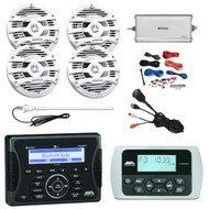"Jensen Marine Audio Bluetooth AUX USB SiriusXM-Ready Receiver, Wired Remote, 4x Kenwood 6.5"" 2 Way 150-Watt White Marine Speakers, Enrock Marine 4-Channel Marine/Powersports Amplifier, PYLE 8 Gauge Amp Install Kit, AM/FM Radio Antenna, USB Mount"