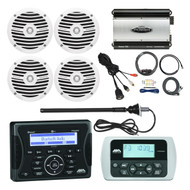 "Jensen Marine Audio Bluetooth AUX USB SiriusXM-Ready Receiver, Wired Remote, 4x Rockford Fosgate 6.5"" Inch Full Range Speakers, White, Jensen POWER 760-Watt 4-Channel Car Marine Amplifier, 8-Gauge Amp Install Kit, AM/FM Antenna, USB Mount"