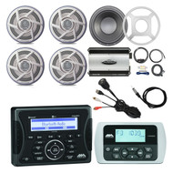 """Jensen Marine Audio Bluetooth AUX USB SiriusXM-Ready Receiver, Wired Remote, 4x Pioneer 6.5"""" Dual Cone Boat Outdoor Speaker, 10"""" 300-Watt Subwoofer with LED Light Kit & Grilles, 760-Watt 4-Channel Amplifier, Amp Install Kit, Antenna, USB Mount"""