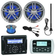 "Jensen Marine Audio Bluetooth AUX USB SiriusXM-Ready Receiver, Wired Remote, 2x Enrock Marine 2-Way 180-Watts High-Performance 6.5"" Water-Resistant Loudspeaker (Charcoal), AM/FM Antenna, 50 Ft 16-G Tinned Speaker Wire, USB Mount"
