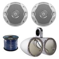 "2X Kicker 6.5"" Dual Marine Speaker Enclosures, 4x Jbl 6.5""  Speakers, 50Ft Wire (R-12KMTEDW-1-MS6510)"
