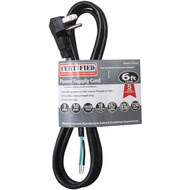 CERTIFIED APPLIANCE 15-0336 Power Supply Cord, 10 Amps (90deg -angle plug; 6ft) (R-15-0336)