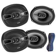 """4x Kicker 6x9"""" 3-Way Speakers 1200W w/ Poly-Switch, 50-Feet 16-AWG K-Series Wire (R-2-41KSC6934-KW1650)"""