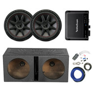 "2x Kicker 12"" Subwoofer,12""  Sub Enclosure, Rockford 500W Amp, 8G Amp Wiring Kit (R-2-43CVR124-1-QBOMB12V)"