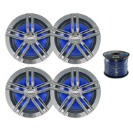 "4 x Enrock Marine 6.5"" Speakers, Enrock Marine Grade Spool of Speaker Wire (R-2-EM265C-EM16G50FT-OFC)"