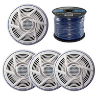 "2 x 6.5"" Marine Speakers, Enrock Marine Spool of Speaker Wire (R-2-TSMR1600-EM16G50FT-OFC)"