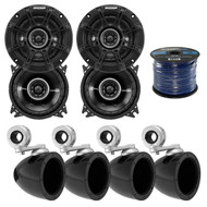 """4x Kicker 4"""" Mini Tower Enclosure, 4x Kicker 4"""" 2 Way Black Speakers, 50Ft Wire (R-40KMMTES-2-41DSC44)"""