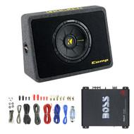"""600W Kicker 10"""" Loaded Subwoofer , 50FT Speaker Wire, Boss Mono 1100W Amplifier (R-40TCWS104-EAKIT8G-R1100M)"""