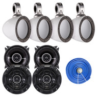 """4X Kicker 4"""" 2-Way Car Audio Speakers, 4x 4"""" Tower Enclosure, 50Ft 14AWG Wire (R-41DSC44-2-40KMMTESW)"""