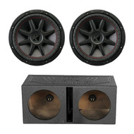 "2X Kicker 800W 12"" 2-Ohm Car Subwoofer, QPOWER 12"" Vented Sub Box Enclosure (R-43CVR122-1-QBOMB12V)"
