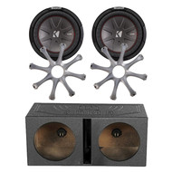 "2x Kicker 10"" Car Subwoofer, Q-POWER 10"" Dual Sub Box Enclosure, 2x Sub Grills (R-43CWR104-1-QBOMB10S)"