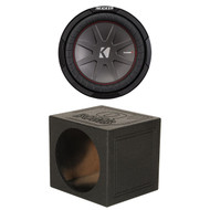 "Kicker CompR 10"" 4-Ohm Car Audio Subwoofer, Qpower Single 10"" Ported Sub Box (R-43CWR104-1-QBOMB10VLSINGLE)"