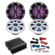 "4x Kicker 6.5"" LED Speakers w/ 4-Channel Bluetooth Amp + 8 Gauge Amp Install Kit (R-43KM654LCW-2-EKMB500ABT)"
