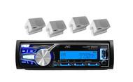"""JVC  Receiver w/ 4 X 3.5"""" Marine Speakers, w/ Marine Audio System(White) (R-ADJM361)"""
