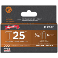 "ARROW FASTENER 259 T25 Round Crown Staples, 9/16""; 1,000 pk (R-AFC259)"