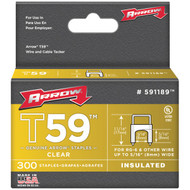 "ARROW FASTENER 591189 Clear T59 Insulated Staples for RG59 quad & RG6, 5/16"" x 5/16"", 300 pk (R-AFC591189)"