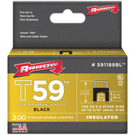 "ARROW FASTENER 591189BL Black T59 Insulated Staples for RG59 quad & RG6, 5/16"" x 5/16"", 300 pk (R-AFC591189BL)"