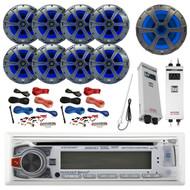 "Bluetooth CD MP3 USB Receiver, 8x 8"" Speaker, Sub, 2X Amp, 2x 8G Amp Kit,Antenna (R-AM425BT-BOAT)"