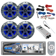 """Bluetooth CD MP3 Receiver, 4X 6.5"""" Speakers LED, Amp, Amp Install Kit, Antenna (R-AM615BT-BAYBOAT)"""