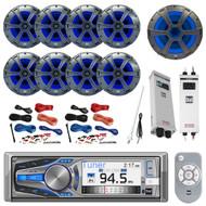 "Bluetooth Receiver, 8x 8"" Speaker, 10"" Sub, 2x Amp, 2x Amp Install Kit, Antenna (R-AM615BT-BOAT)"