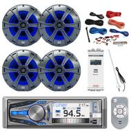 "Dual Bluetooth CD MP3 Receiver, 4X 6.5"" Speakers, Amp, Amp Install Kit, Antenna (R-AM615BT-PONTOON)"