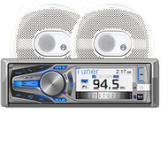 """Dual Marine Stereo CD Receiver 3"""" LCD and Bluetooth, W/ 2 Pairs of 6.5"""" Speakers (R-AMCP615BT)"""