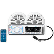 BOSS AUDIO MCK1307W.6 Marine Single-DIN In-Dash Mechless AM/FM Receiver with 2 Speakers & Antenna (R-BOSMCK1307W6)