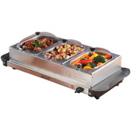 BRENTWOOD BF-315 Triple Buffet Server with Warming Tray & Three 1.5-Quart Steel Pans (R-BTWBF315)