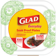 """Glad BBP0103 10.25"""" Paper Plates, 100-ct (Square, Green Victorian) (R-BUZZBBP0103)"""