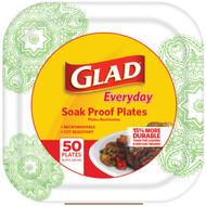 "Glad BBP0102 10.25"" Paper Plates, 50-ct (Square, Green Victorian) (R-BUZZBP0102)"