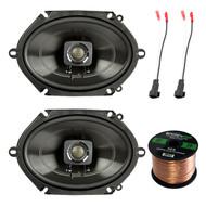 "2x Polk 5x7"" 225W Car/Boat 2-Way Speakers, 2X Speaker Harness Adapter, 50Ft Wire (R-DB572-1)"